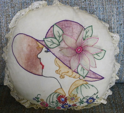 Art Deco Hand Embroidered Lace Pillow Amazing Lady Hat | eBay