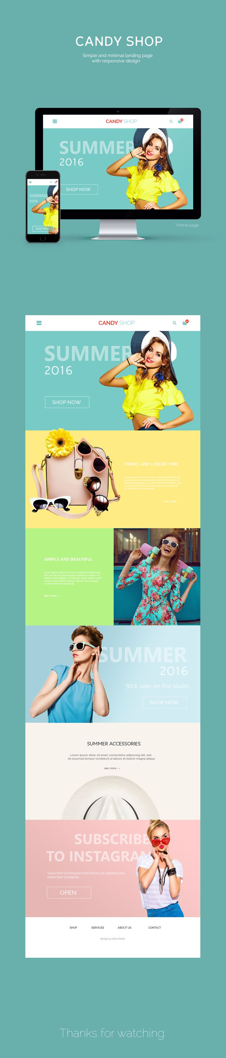 "다음 @Behance 프로젝트 확인: ""Home page ""Candy Shop"" for clothes store.""…"