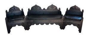 Moroccan Carved Wooden Bench with Cushion from Badia Design Inc.