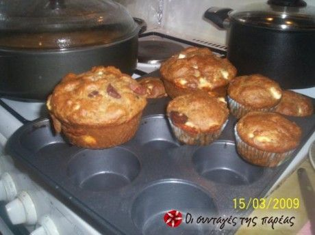 Muffins με φέτα κι ελιές - Savory muffins with feta and olives.  OG