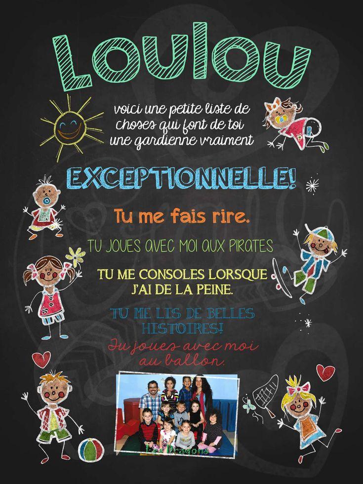 Affiche personnalisée Gardienne exceptionnelle! avec photo | 17,00$ #lacraieco #chalkboard #cadeau #gardienne #garderie