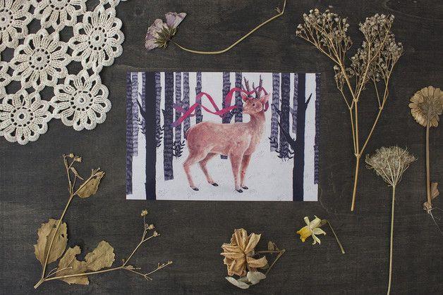 4x6 Print - Woodland Deer Illustration - thebluerabbithouse - Pocztówki - zwierzęta