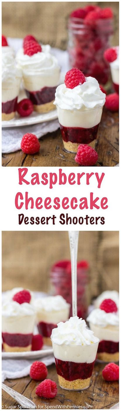 Raspberry Cheesecake Dessert Shooters! These sweet raspberry cheesecake dessert shooters are made with a tart raspberry filling layered over a graham cracker crust, and then topped with a rich, creamy, no-bake cheesecake.