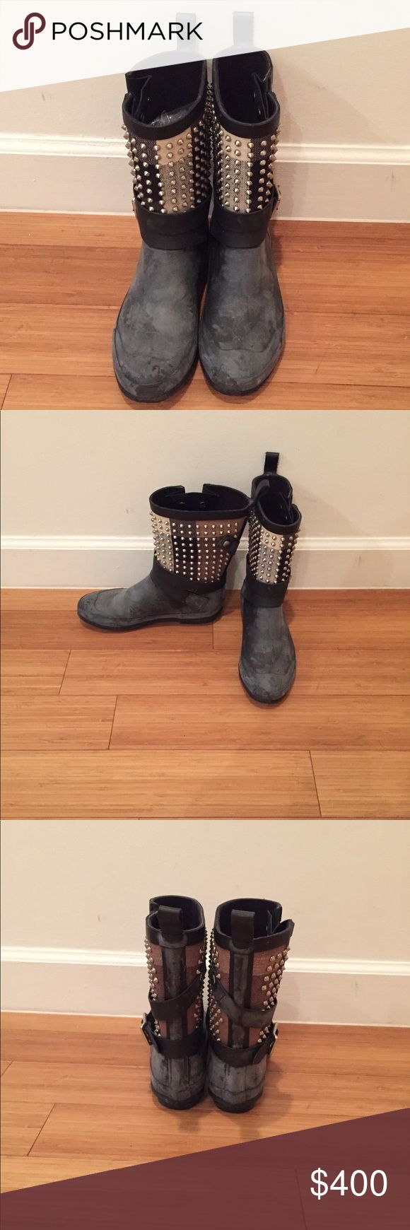 Burberry Rain Boots Burberry studded rain boots. 100% authentic. Natural latex rubber releases a protective white wax film, this process is called blooming; simply wipe it off with a damp cloth as it occurs. Burberry Shoes Winter & Rain Boots