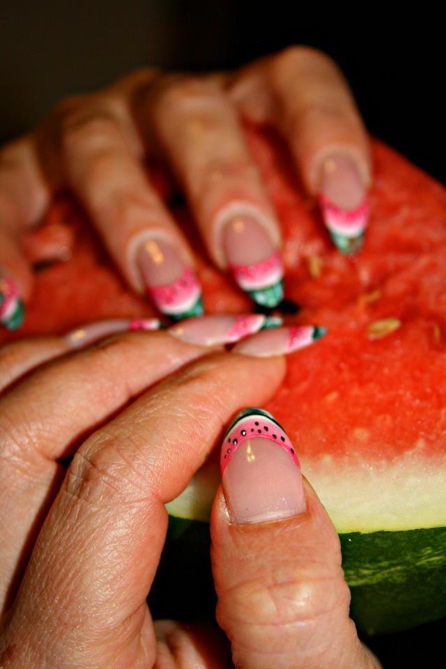 Watermelon nail art.  Colorate Fresche Estive