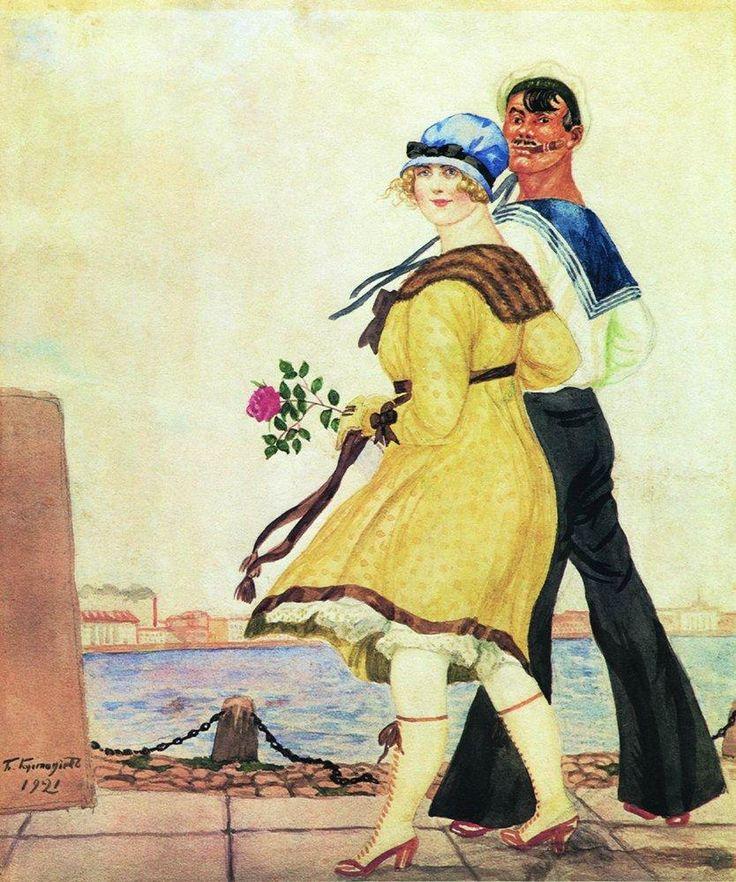 Boris Kustodiev (Russia, 1878 – 1927)  Sailor and His Girl, 1921
