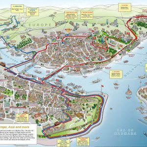 Map of Istanbul tourist attractions sightseeing & tourist tour a part of under Europe