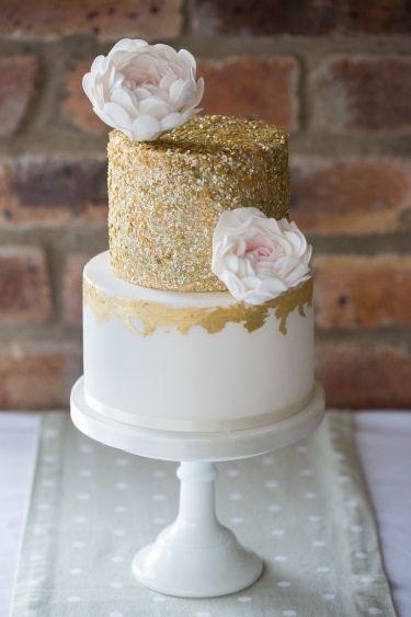 Gorgeous 2 Tier White & Gold Cake. Edible Roses. Glamorous.