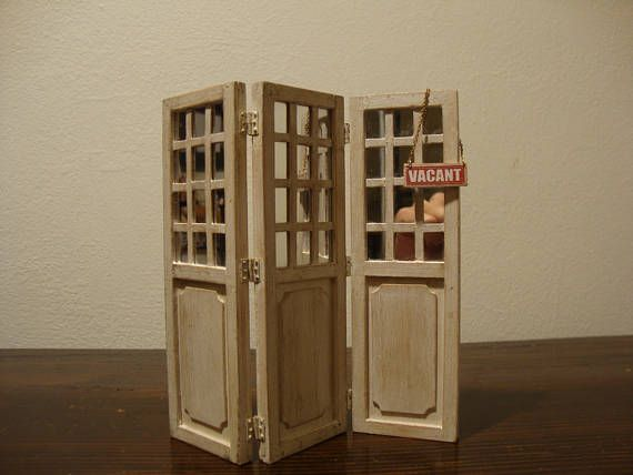 Dollhouse Miniature Wooden Screen With Mirrors. Decorated