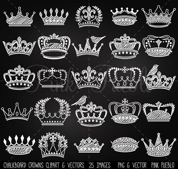 Chalkboard Crown Clipart Clip Art Vectors, Chalk Vintage Crown Silhouettes - Commercial and Personal Use