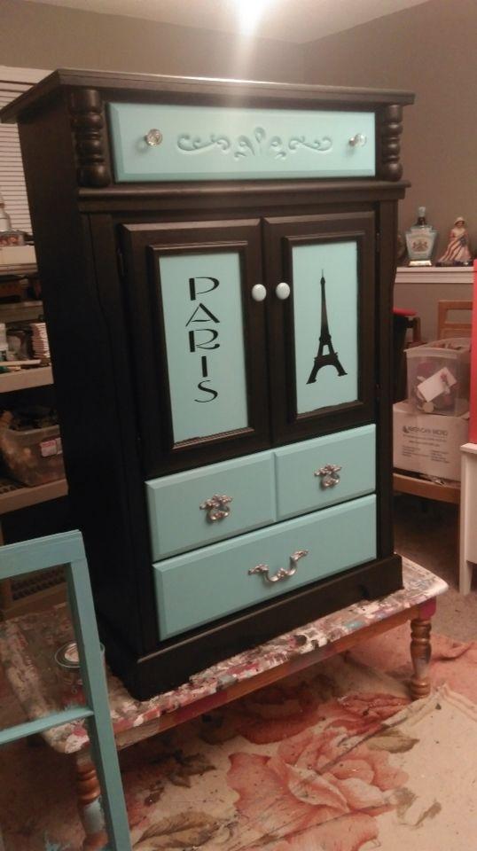Paris theme dresser, Paris theme armoire, Paris furniture, Paris teal & black. #paris #furniture #shabbychic