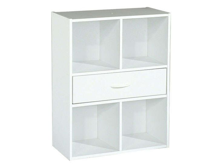 Biblioth que modulable 4 cases 1 tiroirs modulo coloris for Meuble laque blanc conforama