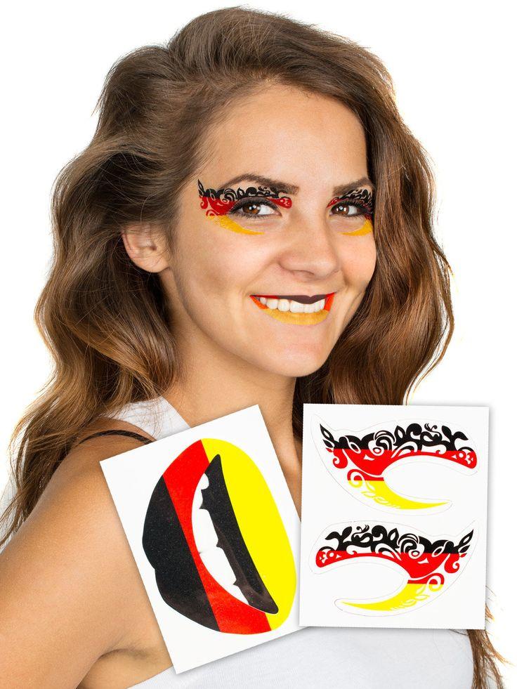 Augen- und Lippen-Tattoo-Set Deutschland-Flagge Fußball-Fanartikel 3-teilig schwarz-rot-gelb. Aus der Kategorie Fußball Fanartikel. Mit diesem großartigen Deutschland Tattoo-Set können sich weibliche Deutschland-Fans im Handumdrehen aufhübschen und zeigen, für welche Mannschaft ihr Herz schlägt.
