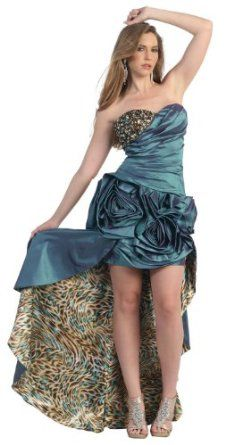 ACK! ewwwww.... Ball Gown Formal Prom Short/long Leopard Printed Floral Dress