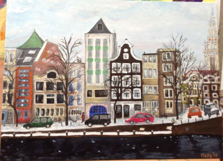 Achter het Waterloo plein in Amsterdam. Olie op board.