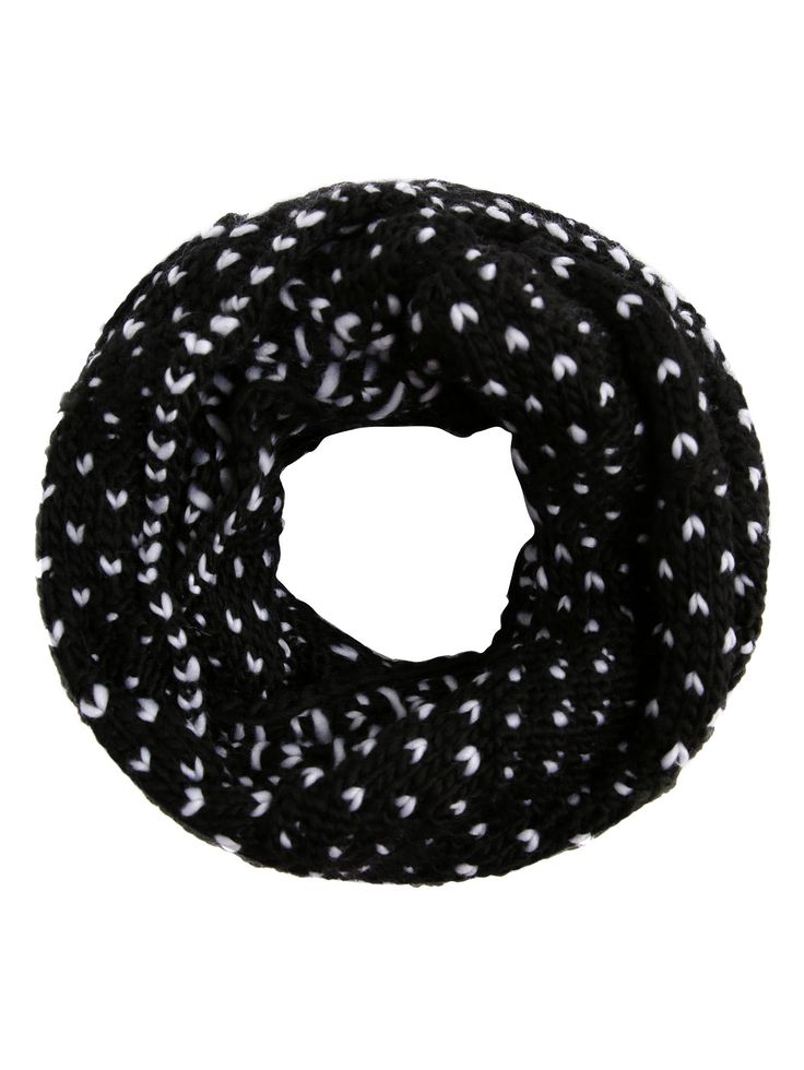 Black And White Marled Knit Scarf -SheIn(Sheinside)