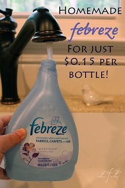 Make Febreze. Cheaper/no phthalates w/eco friendly fabric softener, not phthalate ridden product like Downey. Chemicals in Febreze DON'T BREAK DOWN in environment, why smell lingers.  INGREDIENTS: 1/8 Cup of fabric softener, 2 tablespoons Baking Soda, Hot tap water, Spray bottle (you can use an empty 27 oz. Febreze bottle)