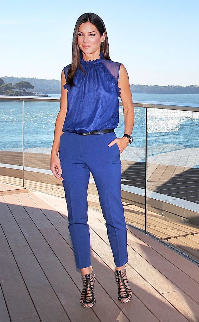 Cobalt Queen from Sandra Bullock's Best Looks  Bullock promotes The Heat wearing a blue pantsuit by Alberta Ferretti.