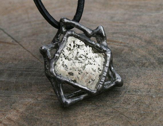 men necklace mens pendant crystal necklace pyrite raw #mennecklace #menspendant #rawnecklace, #pyritenecklace, #Blacksmithworksho