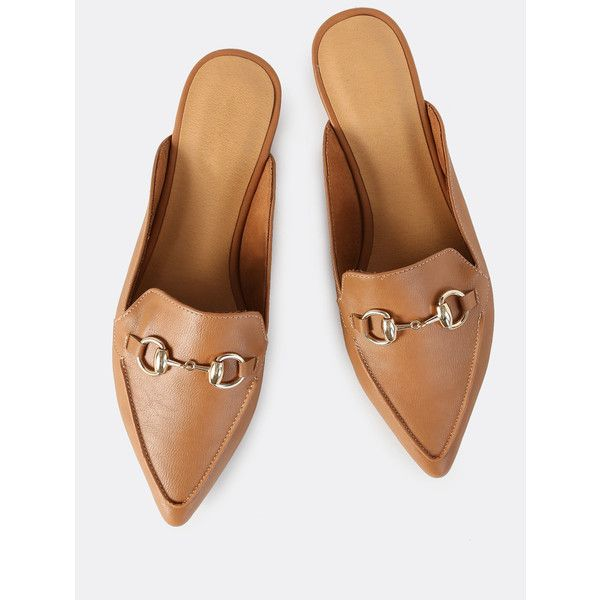 SheIn(sheinside) Backless Point Loafers TAN ($24) ❤ liked on Polyvore featuring shoes, loafers, tan, flat shoes, pointed toe loafers, flats loafers, pointed toe flats and loafer flats