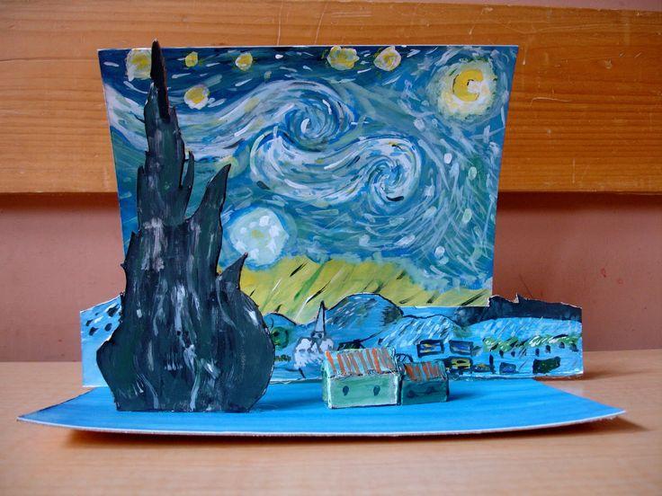 Vincent van Gogh inspired pop up art - starry night: 3-D ...