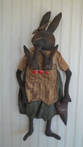 Primitive Grungy Mrs Bunny Rabbit Doll with Her Baby Bunnies and Heart | eBay