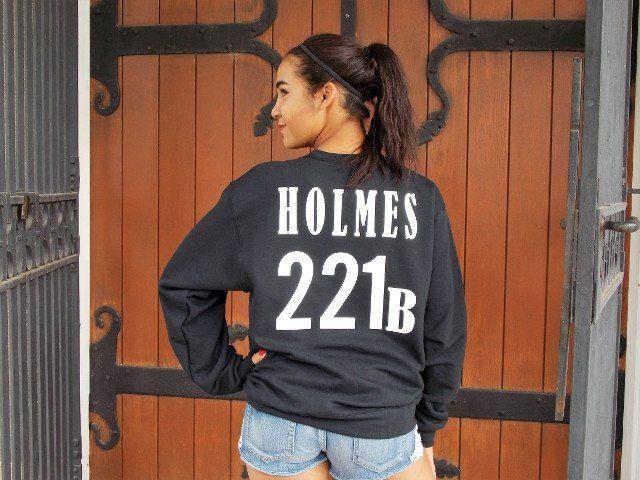 Sherlock Holmes Sweatshirt. Sherlock Fandom Shirt. Jersey Style Print, 221B.