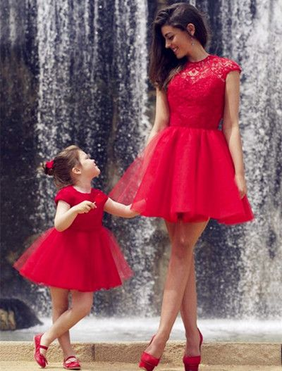 Short Red Lace Charming Prom Dresses,Elegant Homecoming Dress,Evening Dresses, Prom Dresses,Homecoming Dress, BD143742
