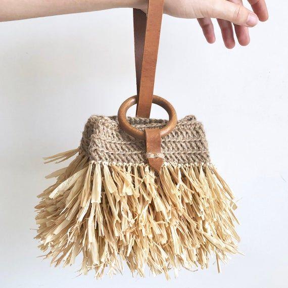 Mini Jute Raffia Leather Handbag, wristlet bag with fringe
