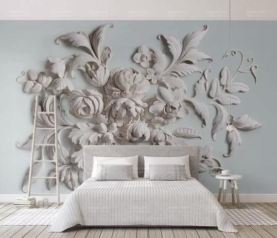 3d Blumentapete Gepragt Zement Blume Wandbild Moderne Wohnkultur