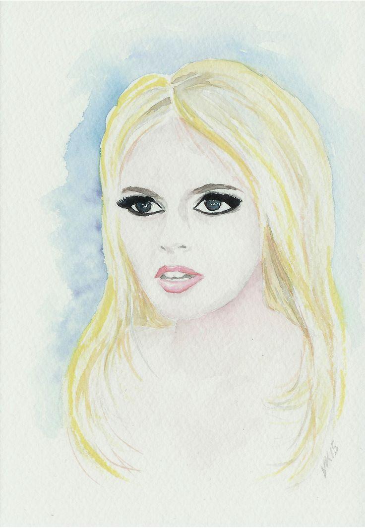 Brigitte Bardot, original watercolor painting by Virpi Kivinen. #brigittebardot #bardot #bb #watercolor #painting #legend #moviestar #earlymorningwalk