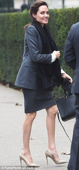 Taking center stage: Angelina Jolie, 39, arrives in London for a political meeting on Tues...