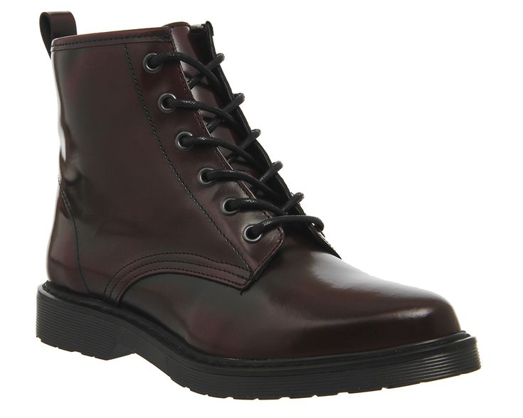 Buy Burgundy Leather Office Inkblot Cleated Lace Up Boots from OFFICE.co.uk.  Womens Leather Ankle ...
