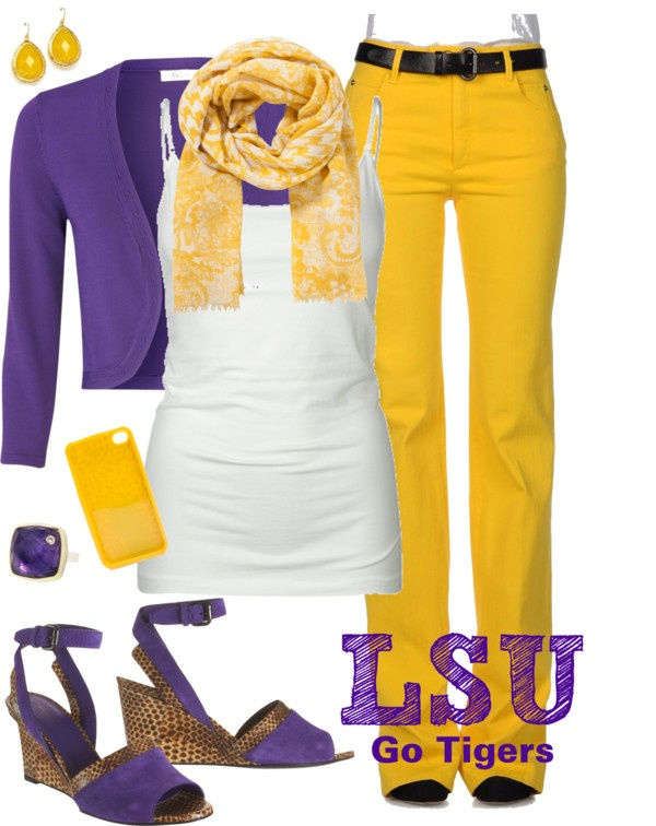 Very pretty! Not an LSU fan but an ECU fan! Same colors different school. I adore the outfit though.