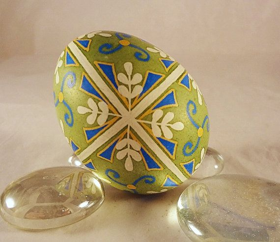Chicken Pysanky Egg Lime with Blue Cross and by GoldenEggPysanky, $23.00