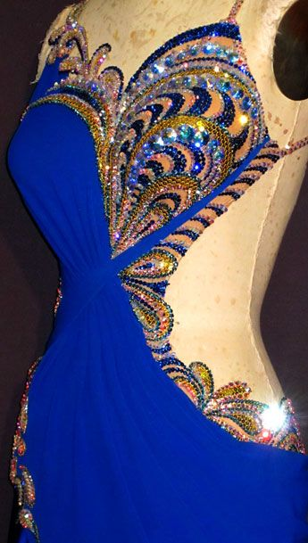 B12372 Crystal Fireworks close blue crystal bodice design latin dress