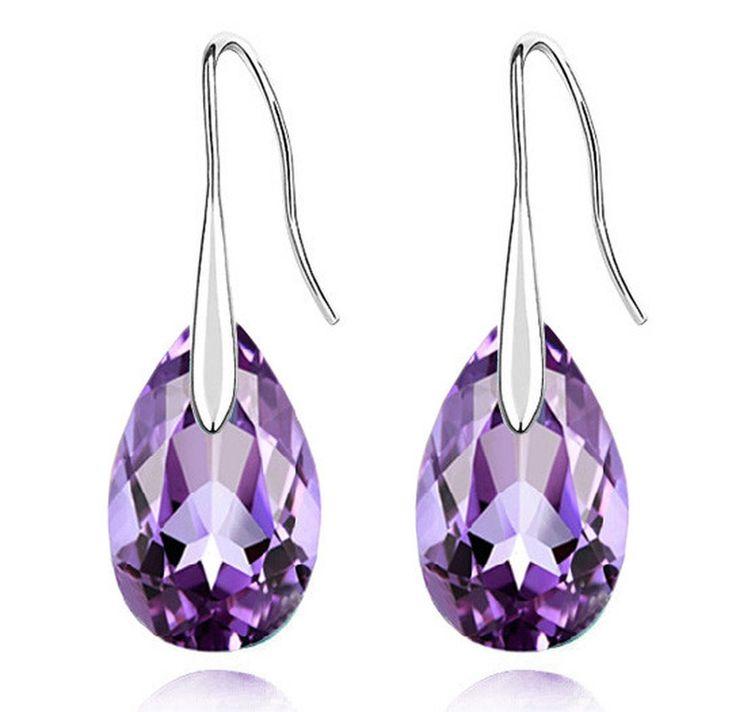 Silver Austrian Crystal 18KGP Sweet Tear Water Drop Earrings - Many Colours