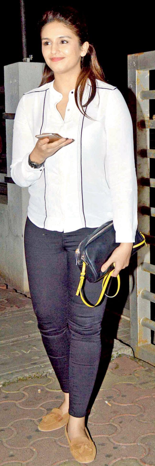 Huma Qureshi at a movie outing.