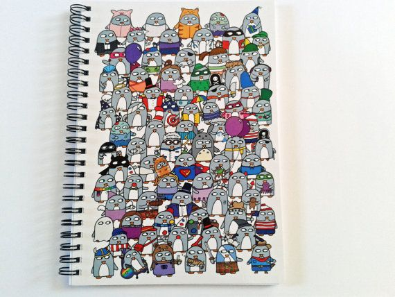 Funny Penguin Notebook  A5  ruled and plain by penguinparadeshop