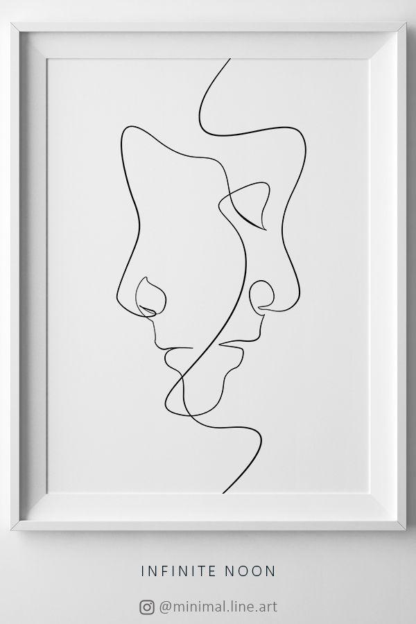 Abstraktes Gesicht eine Linie Zeichnung drucken, minimalistische Kunstwerke, abs… – Dekorationen