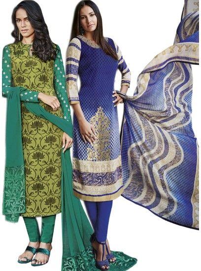 Beautiful Green & Blue Colour Crepe Straight Cut Style Combo Suit D.No.-6542,6547