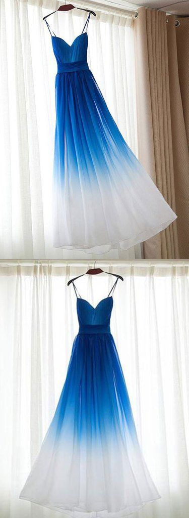 Simple royal blue v neck chiffon long prom dress, evening dress – trendty