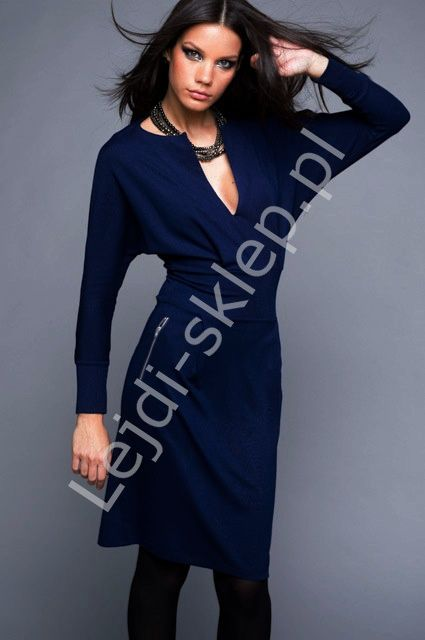 Navy casual dress with zips