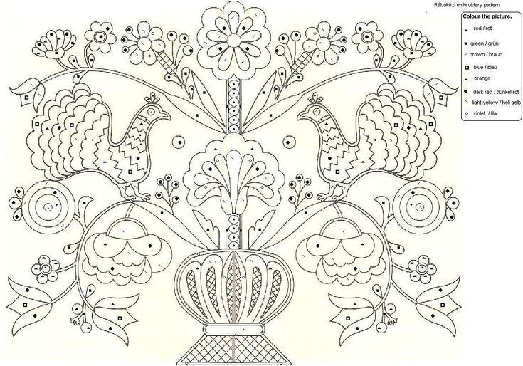 A magyar kultúra tanítása - Teaching Hungarian Culture: rábaközi hímzések színező - embroidery patterns from Rábaköz for colouring in