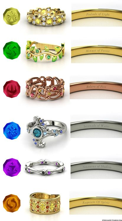 Zelda Ocarina of Time Sage engagement rings! RauruSariaDaruniaPrincess RutoImpaNabooru (made on gemvara.com by steel candy)