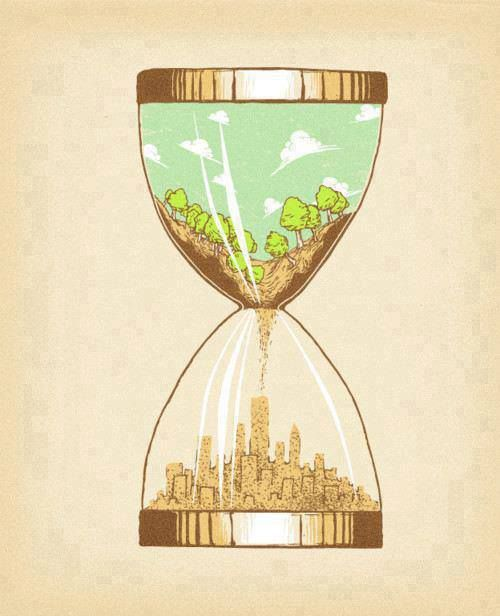 This thought-provoking image is exemplary of our time on here as as humans in terms of industrialization and urbanization in regards to natural resource depletion.