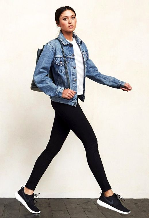 Find this Pin and more on style spy. closet ideas fashion outfit style  apparel Denim Jacket, Black Leggings and Black Shoes