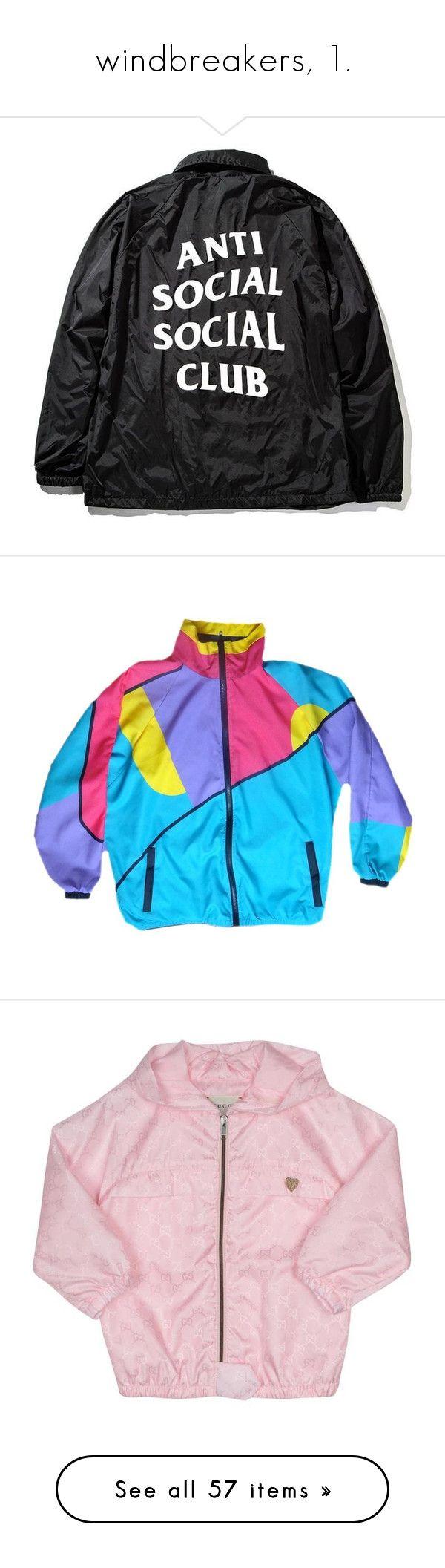 """windbreakers, 1."" by originalimanim ❤ liked on Polyvore featuring outerwear, jackets, tops, wind breaker jacket, windcheater jacket, wind jacket, vinyl jacket, coach jacket, activewear and activewear jackets"