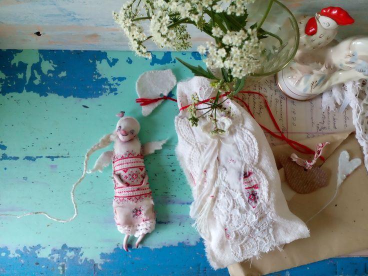 Куколка и мешок к ней. Хлопок, кружево, шитье, винтажные ткани