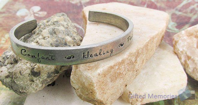 Bracelet Cuff - Comfort Healing Peace. Find it at www.giftedmemoriesjewellery.com.au